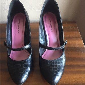Croc embossed Mary Jane heels